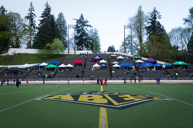 The field and stands at the Tacoma Invitational, home of the Abes.