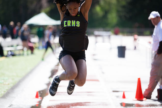 Female triple jumper from Emerald Ridge High School.