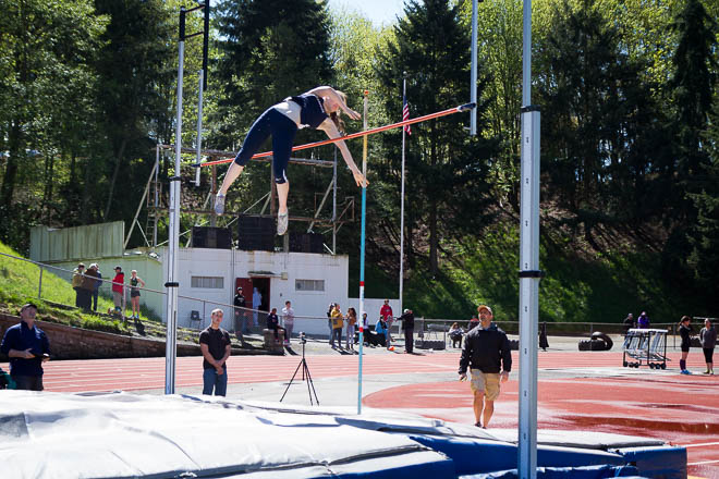 Female pole vaulter from Bellarmine High School.