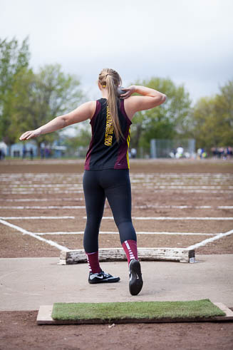 Female shot put athlete from Enumclaw High School.
